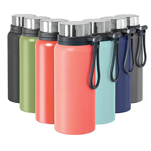 OGGI Terrain Insulated Stainless Steel Water Bottle - Large 32-Ounce Capacity, Also Suitable for Coffee & Hot Drinks, Coral
