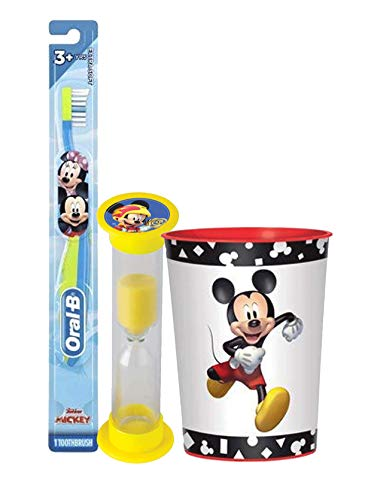 Mickey Mouse 3pc Toddler Training Oral Hygiene Bundle! Soft Manual Toothbrush, Brushing Timer & Mouthwash Rinse Cup! Plus Dental Gift Bag & Tooth Saver Necklace!
