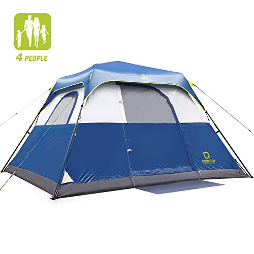QOMOTOP Tent for Camping, 4 Person Instant Tent Equipped with Rainfly and Carry Bag, Water-Proof Pop up Tent with Electric Cord Acess, Light Weight Cabin Style Tent