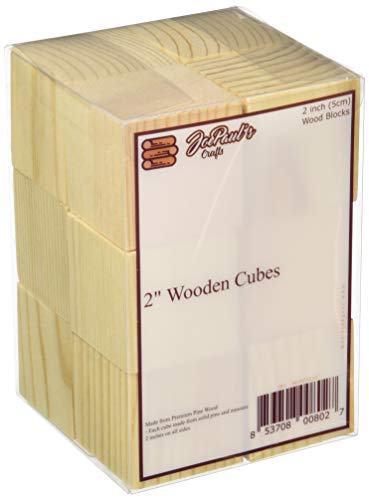 JoePaul's Crafts 12 pcs - 2' Wood Blocks Square Wooden Unfinished Craft Cubes - DIY Baby Shower/Stamp Block (Qty 12)