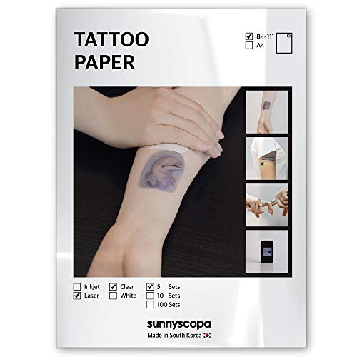 Sunnyscopa Printable Temporary Tattoo Paper for LASER printer - US LETTER SIZE 8.5'X11', 5 SHEETS - DIY Personalized Image Transfer Sheet for skin - Custom Waterslide Decal Stencil Henna