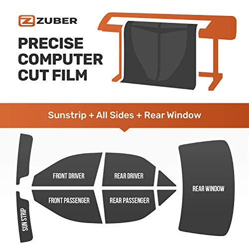 ZUBER PreCut Carbon Ceramic Tint KIT. Includes Left Side, Right Side, Rear Windows and Sun Strip. Choose Any Tint Shade. Perfectly Fits Any Car, Truck, SUV, Van. Blocks UV, Improves Safety, Durable