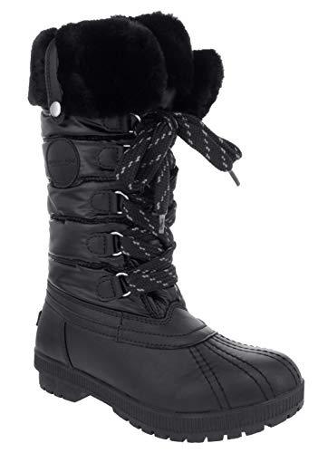 LONDON FOG Womens Melton4 Cold Weather Waterproof Snow Boot Black 7 M US