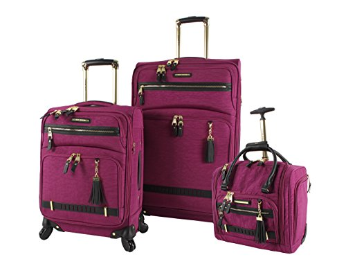 Steve Madden Designer Luggage Collection- 3 Piece Softside Expandable Lightweight Spinner Suitcases- Travel Set includes Under Seat Bag, 20-Inch Carry on & 28-Inch Checked Suitcase (Peek-A-Boo Purple)