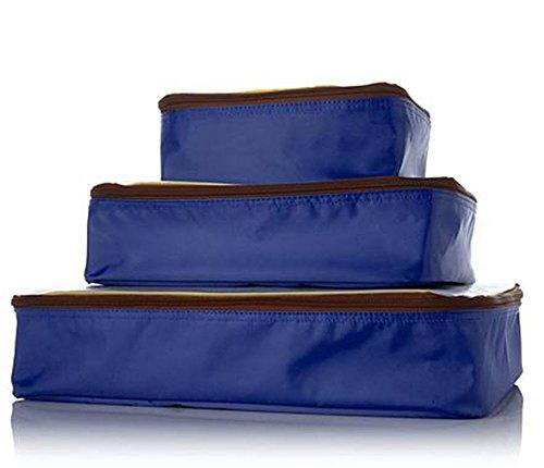 Samantha Brown Microfiber Packing Cube 3-piece Set Royal Blue