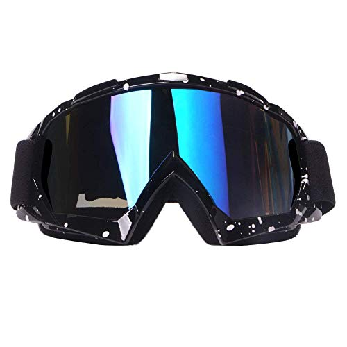 4-FQ Motorcycle Goggles Dirt Bike Goggles Motocross Goggles Windproof ATV Goggles Dustproof Racing GogglesScratch Resistant Ski Goggles Protective Safety Glasses PU Resin (Black frame+Color lens)