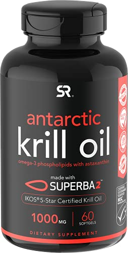 Antarctic Krill Oil 1000mg (Double Strength) with Omega-3s EPA & DHA + Astaxanthin | IKOS 5-Star Certified & Non-GMO Verified (60 Softgels)
