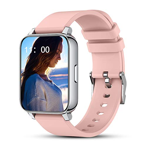 Pink Smart Watches for Women, 1.69'' Full Touch Screen Fitness Tracker with Heart Rate Sleep Monitor, Step Counter, Camera Control, Customizable Watch Faces, Smartwatch Compatible iPhone Android