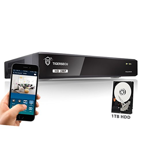 TIGERSECU Super HD 1080P H.265+ 8-Channel Hybrid 5-in-1 DVR Security Recorder with 1TB Hard Drive, for 2MP TVI/5MP TVI/AHD/CVI/Analog/ONVIF 2.0+ IP Cameras (Cameras Not Included)