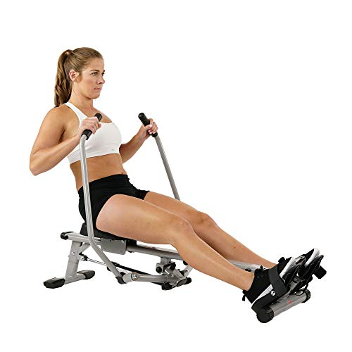 Sunny Health & Fitness SF-RW5639 Full Motion Rowing Machine Rower w/ 350 lb Weight Capacity and LCD Monitor