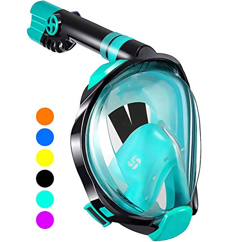 WSTOO Full Face Snorkel Mask - Designed for Surface Snorkeling,180 Degree Panoramic Anti-Fog Anti-Leak with Camera Mount Foldable Snorkel Mask