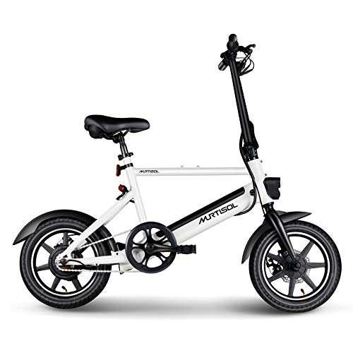 Murtisol 14 inch Electric Bike 350W 36V 6AH Removable Lithium Battery, Dual Disc Brakes, 3 Digital Adjustable Speed, Hidden Battery Design, Foldable Handle(White)
