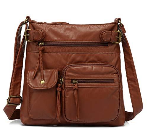 Scarleton Multi Pocket Crossbody Bag for Women, Ultra Soft Washed Vegan Leather Shoulder Purse, H183304, Brown L