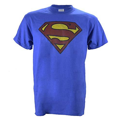 Superman Logo Distressed Vintage Print on a Heathered Blue T Shirt