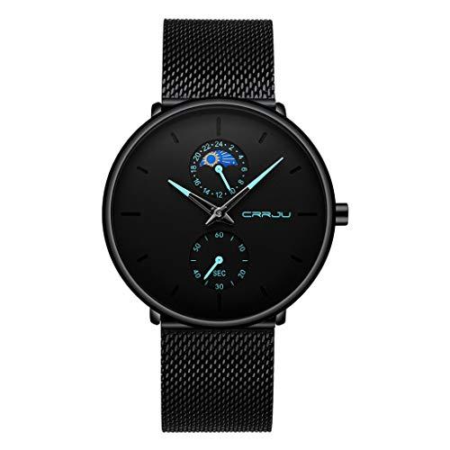Mens Watches - Casual Quartz Watch for Men Waterproof Black Stainless Steel Mesh Strap by Sameno Watch Liberté Relojes