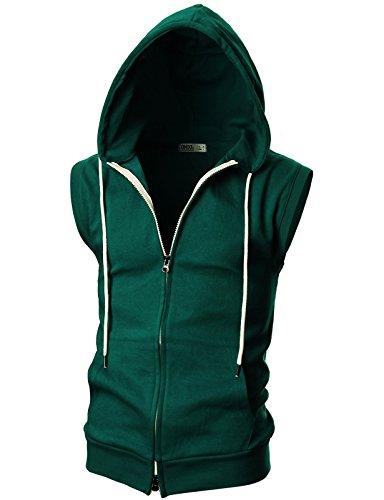 OHOO Mens Slim Fit Sleeveless Lightweight Zip-up Hooded Vest with Double Slide Zipper/DCF011-GREEN-S