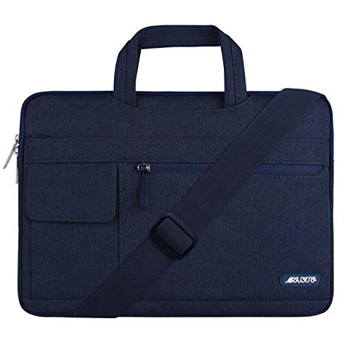 MOSISO Laptop Shoulder Bag Compatible with 13-13.3 inch MacBook Pro, MacBook Air, Notebook Computer, Polyester Flapover Briefcase Sleeve Case, Navy Blue
