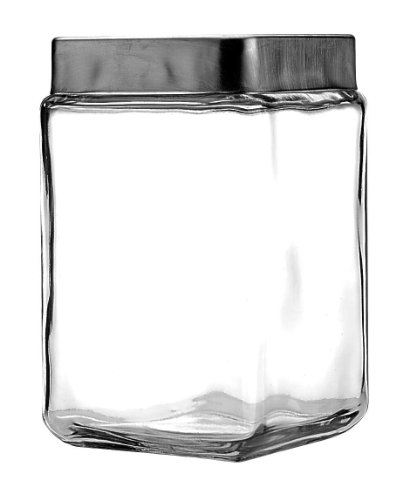 Anchor Hocking 1.5-Quart Stackable Jars with Brushed Aluminum Lid, Set of 6