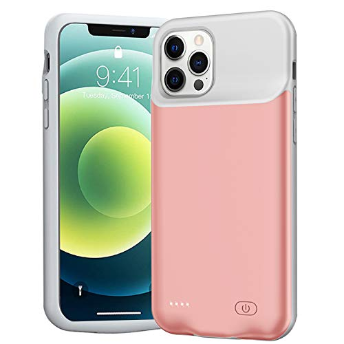 Battery Case for iPhone 12/12 Pro, Enhanced 7000mAh Slim Portable Protective Charging case Compatible with iPhone 12/12 Pro (6.1 inch) Rechargeable Battery Pack Charger Case (Rose Gold)