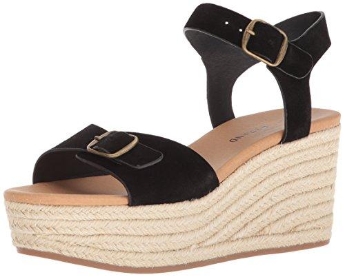 Lucky Brand Women's Naveah Espadrille Wedge Sandal, Black, 8 M US