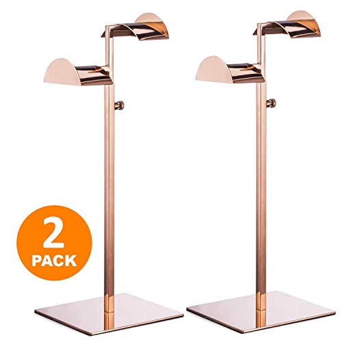 Polmart Countertop Adjustable Double Arm Handbag Purse Display Stand with Crescent Handles - Rose Gold (2 - Pack)
