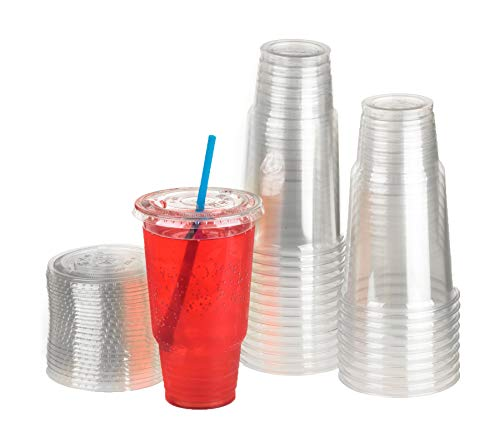 GOLDEN APPLE, 32oz-25sets. Clear Plastic Cups with Flat lids w Hole