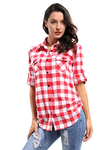 OCHENTA Women's Long Sleeve Button Down Plaid Flannel Shirt M042 Red White M