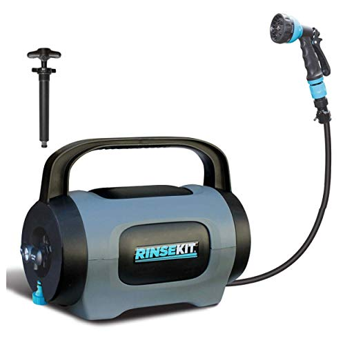 RinseKit POD | Portable Shower with Hand Pump | 1.5 Gallons | Fill with Hot or Cold Water | High Pressure Spray is Great for Camping, Surfing, Pets, Sports and a Quick Shower