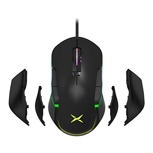 DELUX Ambidextrous Wired Gaming Mouse with 10000DPI, RGB Backlit, 8 Programmable Buttons and Personalized Side Wing and Weights Design, Left and Right Handed Gaming Mouse (M627S(3325)-Black)