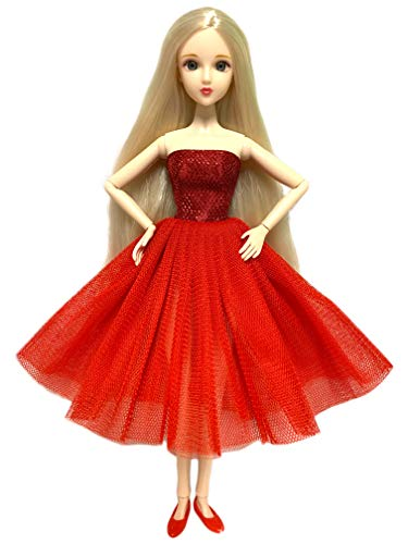 Eledoll Holiday Doll Christmas Alice in Red Dress Fully Poseable Doll 3D Eyes Deluxe Collector Doll 1/6 Scale Ball Jointed Doll Articulated 12 inch BJD Fashion Doll