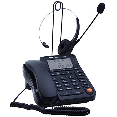 JeKaVis J-P17 Call Center Phone with Headset Noise Cancelling Monaural, Corded Phone with Caller ID, Home Office Landline Phone with Speakerphone Multi Functional Telephone for Business