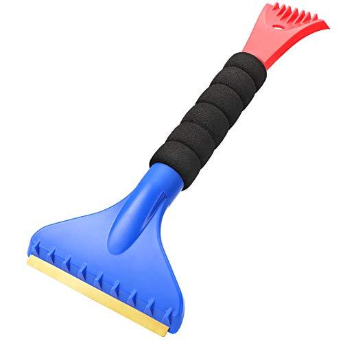 Double Ended Ice Scraper, Snow Scraper, Frost Shovel Scraper, Brass Blade with Ergonomic Foam Grip for Cars, Trucks, SUVs, Household (Heavy Duty)
