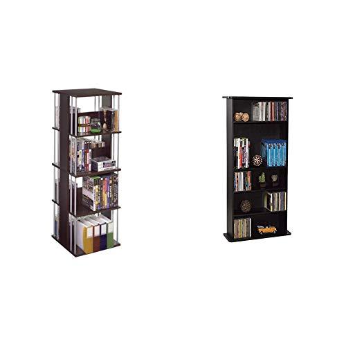 Atlantic Typhoon Media Spinner Unit, Espresso/Silver, accessory & RA1711 Drawbridge Cd &ampamp DVD Multimedia Cabinet, 36' X 19' X 7', Black