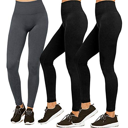 Premium Women's Fleece Lined Leggings Soft High Waist Slimming Warm Leggings Winter Workout Yoga Pants (S/M/L, 3 Pack-2 Black&1 Grey)