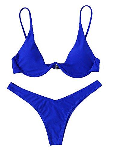 Verdusa Women's Sexy Triangle Bathing Two Pieces Swimsuit Bikini Set Blue M