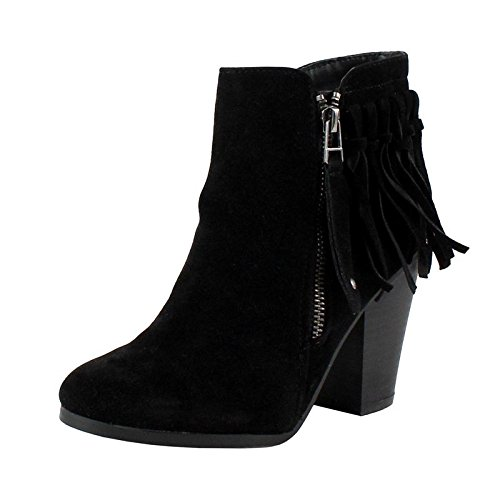 Breckelle's Gail-26 Women's Belted Chunky Stacked Heel Ankle Booties Black 6
