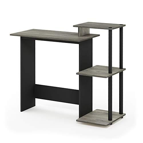 FURINNO Efficient Home Laptop Notebook Computer Desk, Square Side Shelves, French Oak Grey/Black