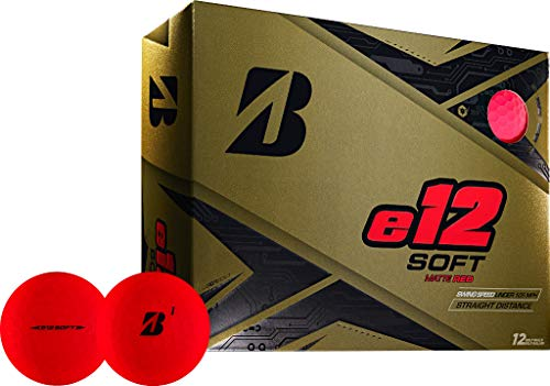 Bridgestone Golf e12 Soft Golf Balls, Matte Red (One Dozen)