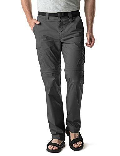 CQR Men's Convertible Cargo Pants, Water Repellent Hiking Pants, Zip Off Lightweight Stretch UPF 50+ Work Outdoor Pants, Convertible Cargo Pants w Belt Charcoal, 34W x 30L