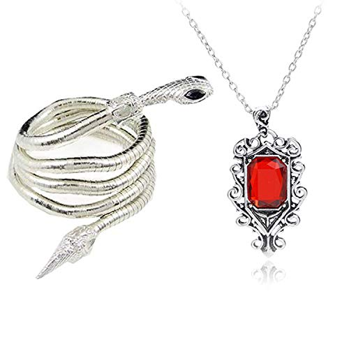 YouU 2 Pcs City of Bones Isabelle Lightwood's Electrum Whip Serpent Snake Bracelet and Necklace Set with Storage Box