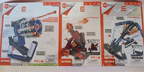 VEX Robotics HexBug Bundle: Gatling Rapid FIRE Motorized Dart Shooter, Catapult Launcher, Crossbow Launcher (3 Pack) by VEX
