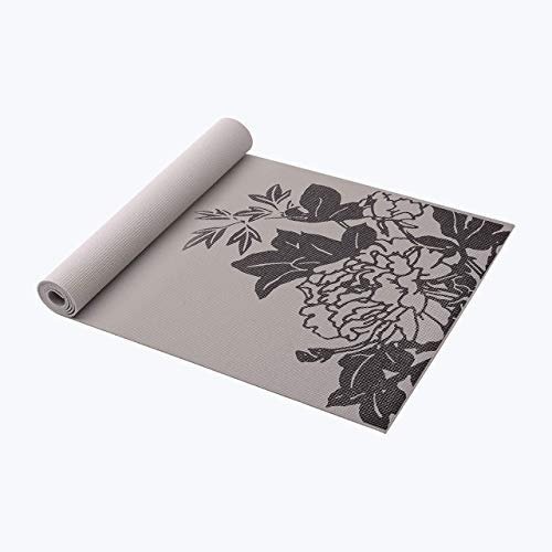 Gaiam Yoga Mat Premium Print Extra Thick Non Slip Exercise & Fitness Mat for All Types of Yoga, Pilates & Floor Workouts, Grey Peony, 5mm