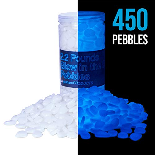 Graham Products 450 pcs, 2.2 lbs Glow in The Dark Pebbles (White Glows Blue) - Indoor Outdoor Zen Garden Stones, Moonlight Yard Plant Decorations, Fish Tank Aquarium Rocks, Solar Backyard LED Decor