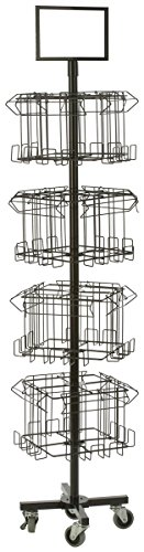 Floor Standing Portable Literature Rack, 16 Pockets for Magazines, Spinning, Tiered (Steel Wire)