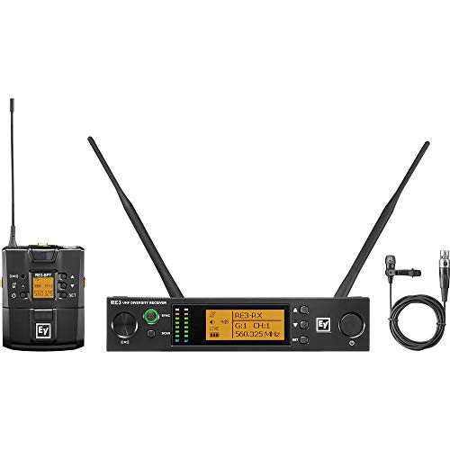 Electro-Voice RE3-BPCL Wireless Bodypack System, Includes RE3-ACC-CL3 Cardioid Lavalier Microphone with TA4F Connector, RE3-RX Diversity Receiver and RE3-BPT Bodypack Transmitter, 560-596MHz