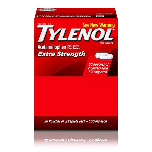 Tylenol Extra Strength Caplets with Acetaminophen, Pain Reliever & Fever Reducer (50 Packets of 2 Caplets)