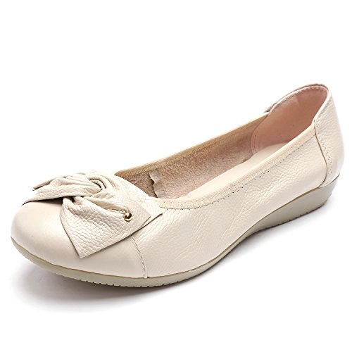 Odema Women's Leather Slip Ons Loafers Flats Moccasins Driving Shoes Casual Walking Shoes 11Colors Size 6-10 Beige