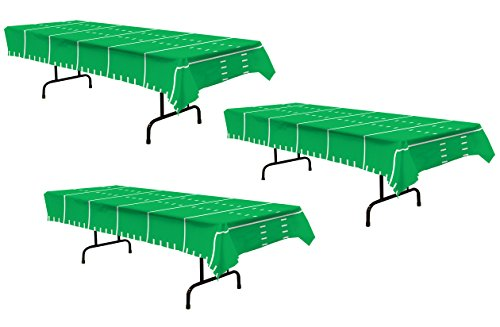 Beistle 3Piece Game Day Football Tablecovers, 54' x 108', , Green/White