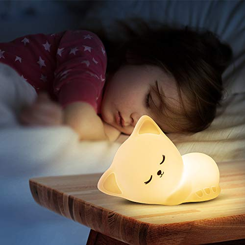 Kitty Night Light for Kids - Color Changing Baby Night Light,Portable and Rechargeable Kid Lamp, Best Gifts for Kids Baby Girls Boys Children Adult