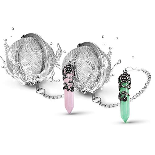 SaNavie 2 Pack Healing Crystal Pendant Loose Tea Steeper Tea Infusers Tea Strainers for Couple Gift,Antique Silver Flower Wrapped Natural Gemstone Hexagonal 18/8 Stainless Steel Fine Mesh Tea Ball